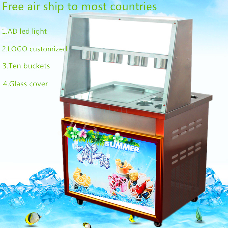 Free air ship CE 110V 220V R410 R22 LED commercial Stainless Steel Fried Ice Cream Machine Single Pan Freezer ice pan machine free air ship ce stainless steel fried ice cream machine single pan freezer ice pan machine with defrost for ice cream rolls