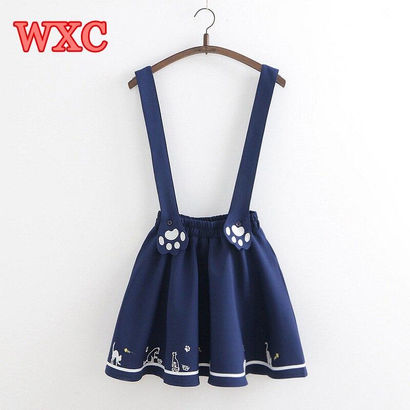 Summer Women Straps Skirt Kawaii Cute Cat Paw Embroidery Suspenders Skirts Lolita Mori Girls Suspenders Short Jumper Skirt WXC