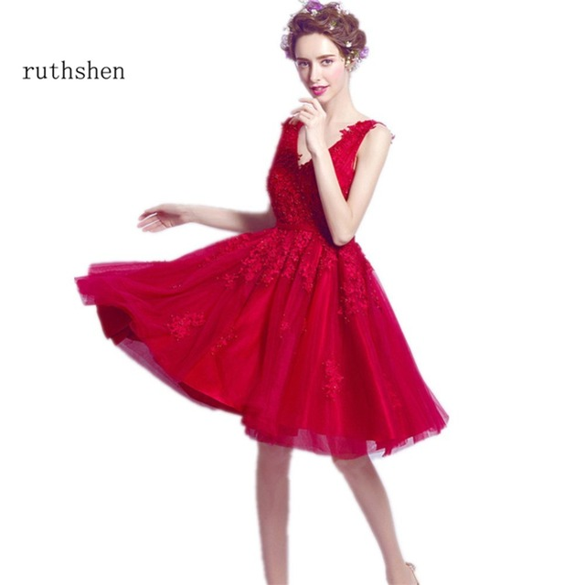 ruthshen Short Red Prom Dresses Cheap V Neck Lace Appliques Beaded ...