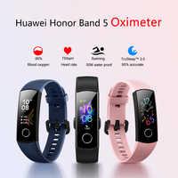 2019 più nuovo Originale Huawei Honor Fascia 5 Braccialetto Intelligente di Ossigeno Nel Sangue di Colore Dello Schermo di Tocco Per Il Fitness Frequenza Cardiaca Orologio Intelligente Impermeabile
