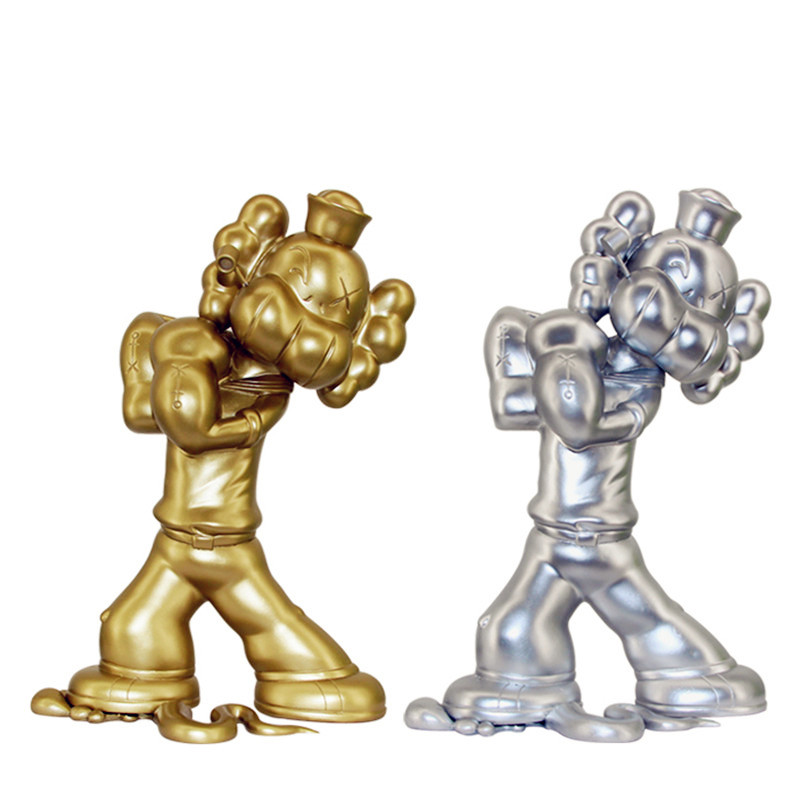 BFF KAWS OriginalFake Medicom Toy Cartoon Popeye Resin Action Figure Collection Model Toy G1091 2 colour outer space trophy electroplating kaws bape milo kabinett ver medicom toy pvc action figure collection model toy g690