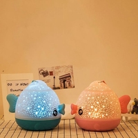 Lucky Fish Starry Sky Projector LED Night Light Wireless Remote Control Novelty Rotating Friends Gift Night Lamp for Baby Kids