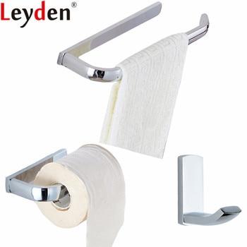Leyden Chrome Brass 3pcs Bathroom Accessories Set Wall Mounted Towel Ring Holder Toilet Paper Holder Tissue Holder Robe Hook