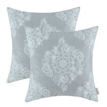 """2 Stücke CaliTime Kissenbezug Kissen Shell Home Sofa Decor Grau Boden Fleece Kurze Plüsch Blumendruck 18 """"X 18"""" 45 cm X 45 cm"""