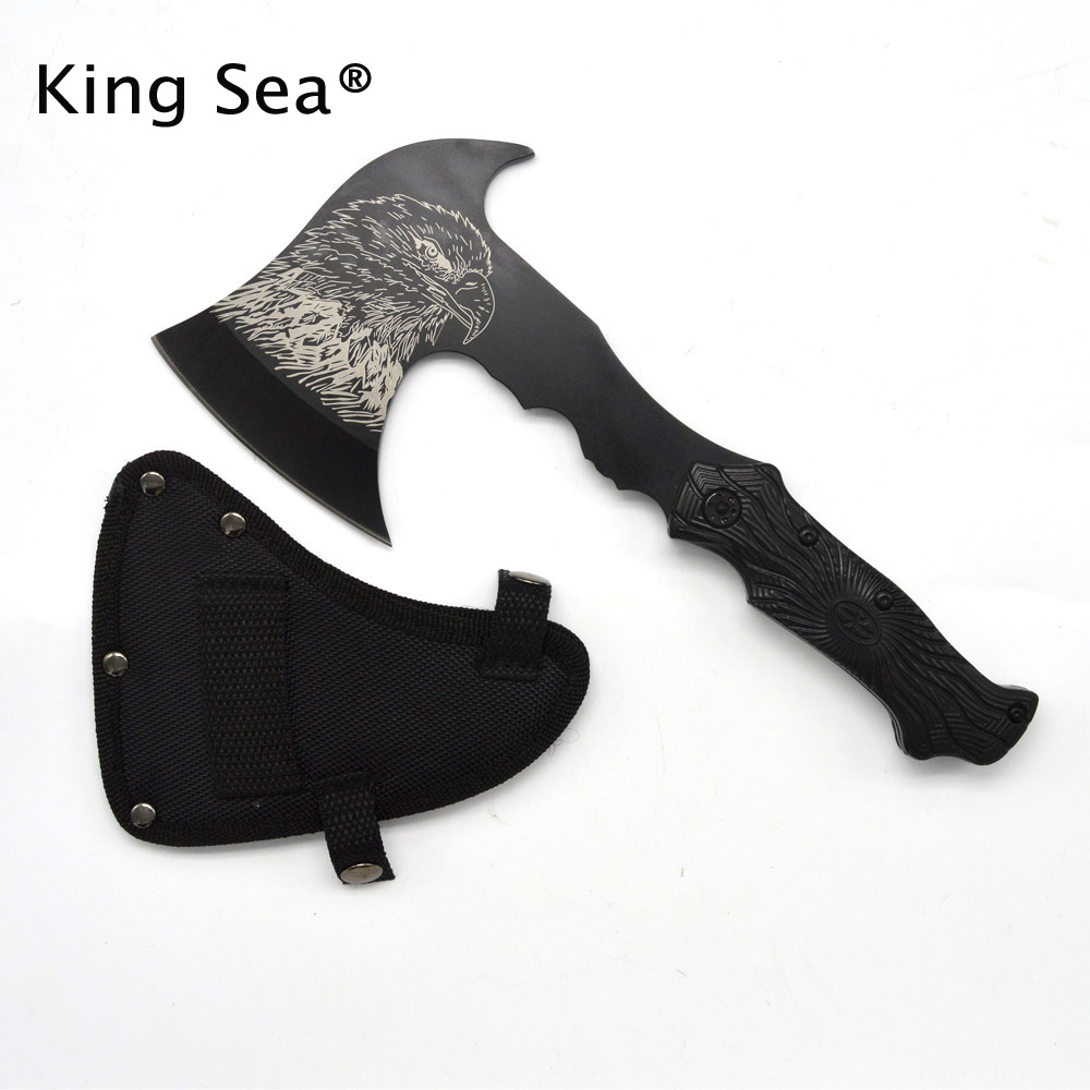 HOT SALE outdoor camping survival fire axe owl print mountain tactical tomahawk axe field tools hatchet damask tactical hammer axe tomahawk fire cold ice axe army rescue ax mountain cutting axe outdoor tools garden building tools