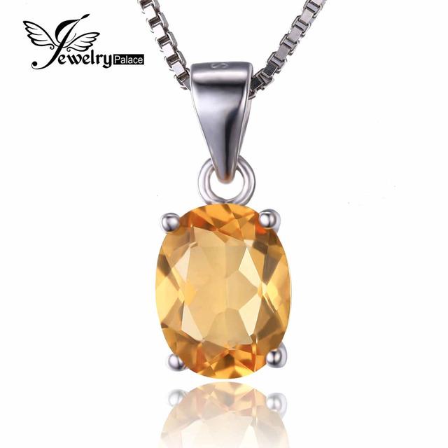 JewelryPalace 1.7ct Natural Citrino Birthstone Oval Solitaire Pingente 925 Prata Esterlina Jóias Finas Para Mulheres Sem uma Cadeia