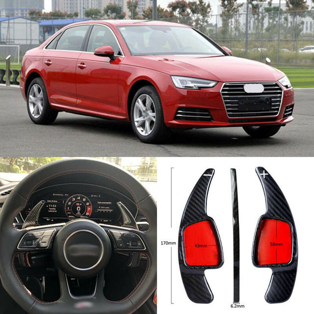 $ 103.39 Carbon Fiber Gear DSG Steering Wheel Paddle Shifter Cover Fit For Audi A4 2017-2018