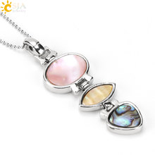CSJA 6cm 3 Hanging Shell Suspension Pendants Necklace for Women Jewelry Fashion Pink Abalone Mother of Pearl MOP Necklaces E486(China)