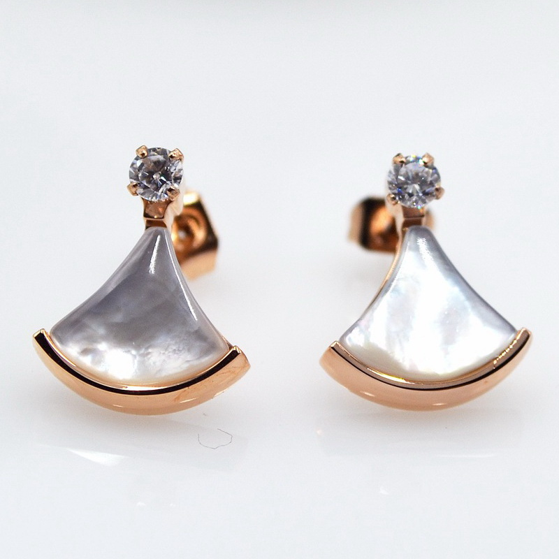 Aliexpress Black Onyx White S Crystal Stud Earrings Women Anium Stainless Steel Rose Gold Color Fashion Ear Studs Fan Shape