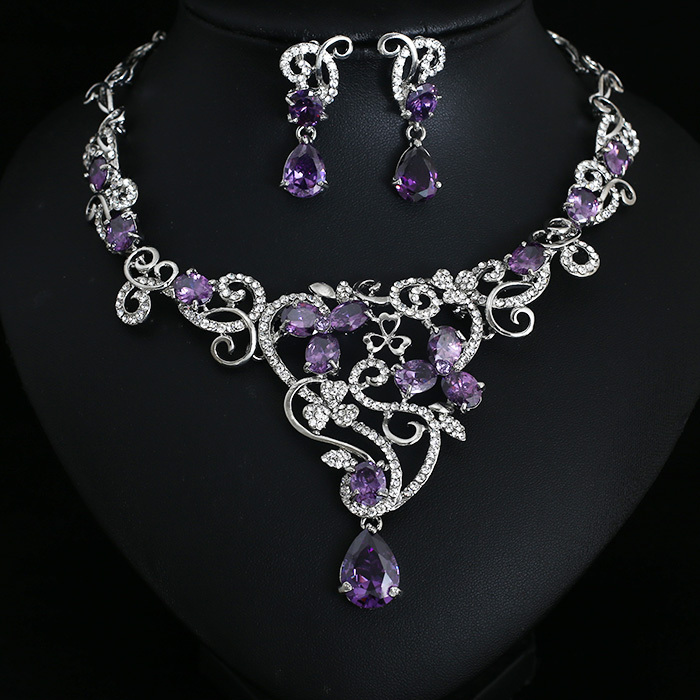 Party Purple Crystal Jewelry Bridal Jewellery Wedding