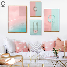 Nordic Still Life Scenery Wall Art Painting Pink Girl Candy Sweet Print Poster Picture for Living Room Home Decor