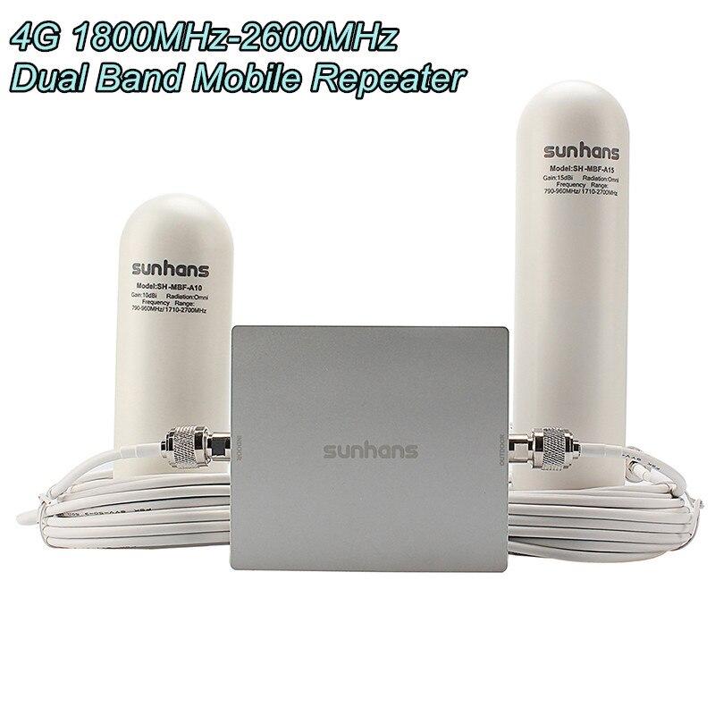 Original Sunhans SH-D18L26-D2 4G 1800 MHz-2600 MHz double bande téléphone Mobile verre acier antenne répéteur Signal amplificateur