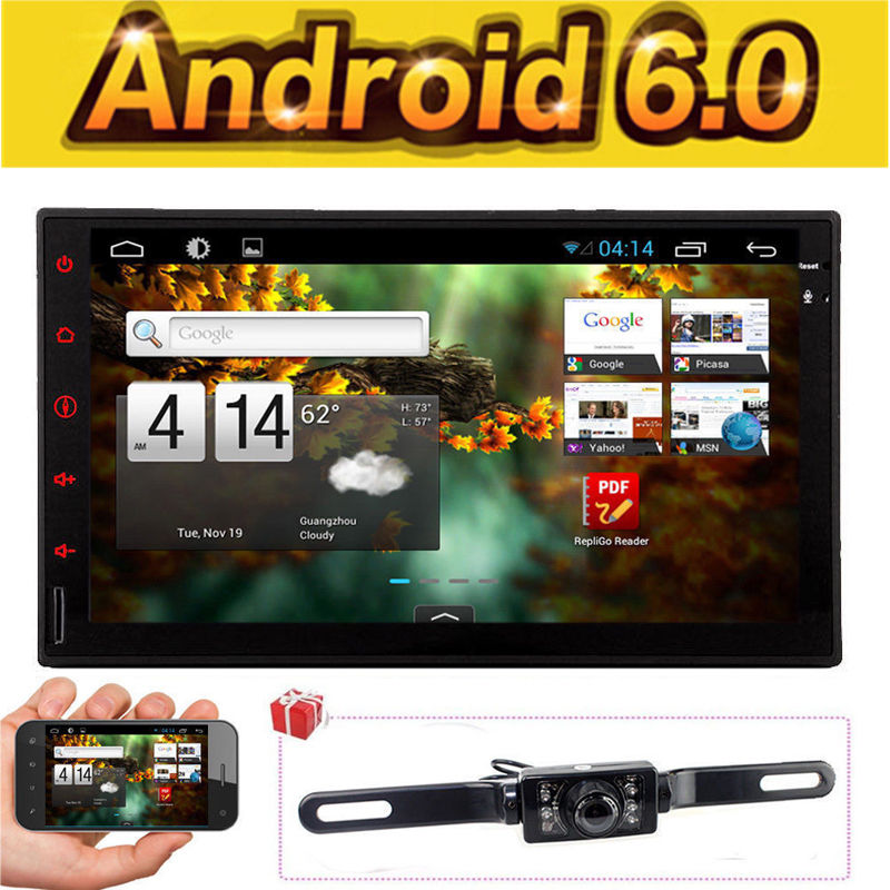 Android 6.0 Double Din Car Stereo Radio GPS Wifi 3G OBD2 HD Bluetooth No DVD+CAM