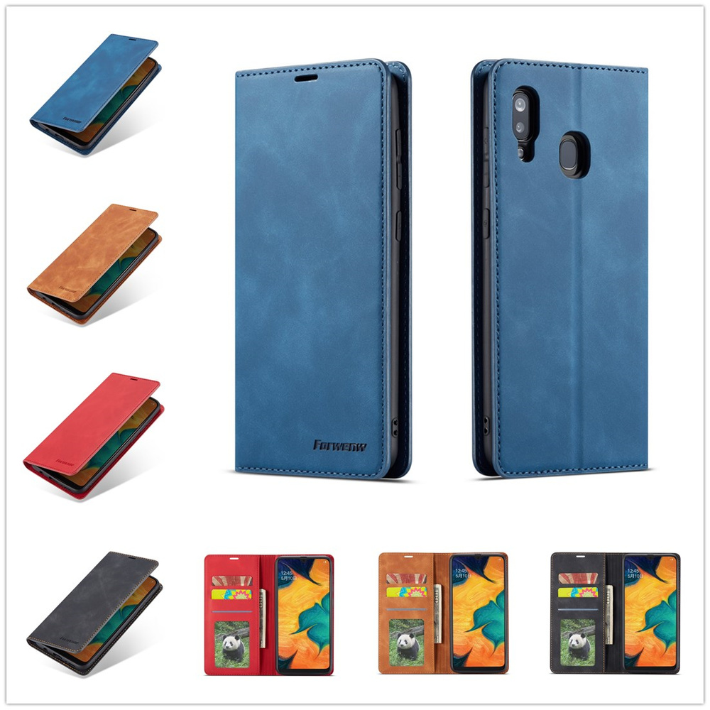 A20E Flip Case for Samsung Galaxy A10 A30 A50 A70 A60 A20 A40 M10 Book Luxury Solid Color Retro Leather Cover Business