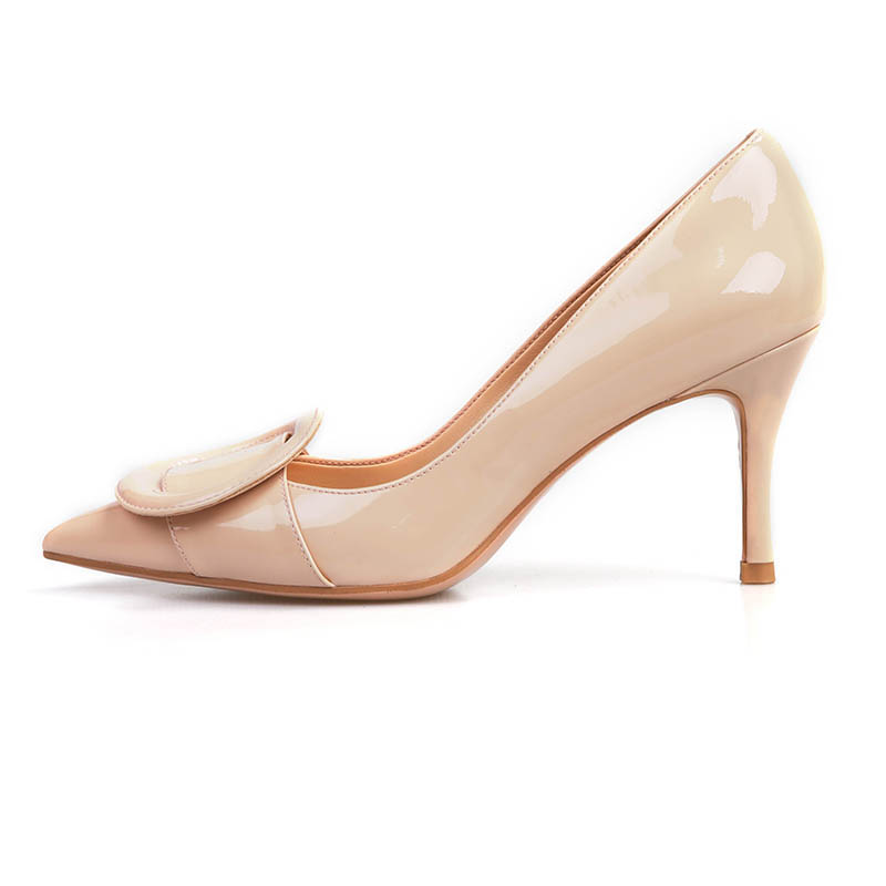 Spring And Summer New Hot Leather Single Shoes High Heels Party Comfortable Leather Soft Business Simple Wind