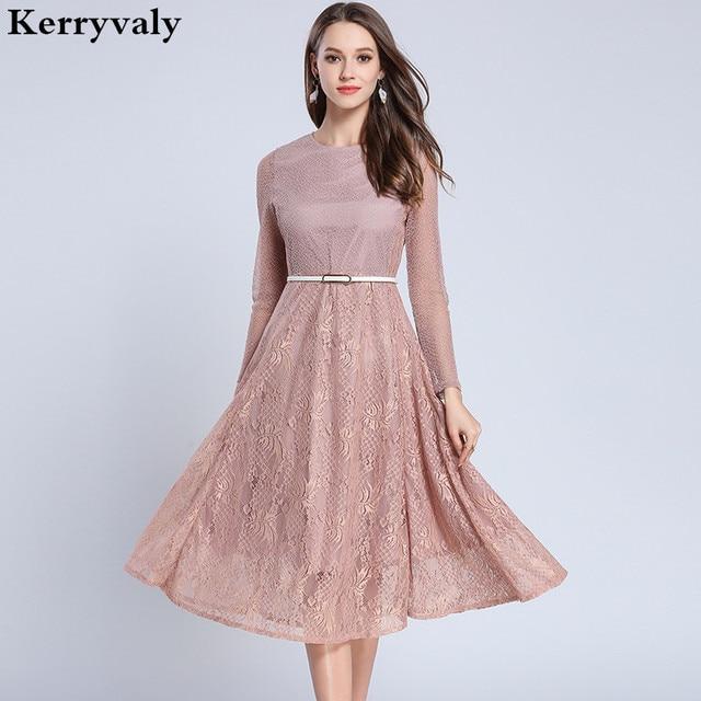8a3308bdf55 Boho Long Sleeve Pink Lace Dress Woman Dress 2019 Spring Summer Large  Pendulum Midi Dress Sukienki