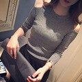 2016 primavera do sexo feminino novo hedging strapless longa-camisa de malha de manga comprida fina camada fina