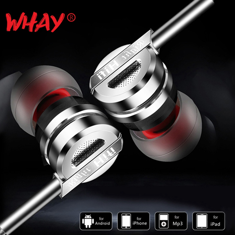 WhaY In-ear Stereo Earphone with Microphone 3.5mm Wired Headphones Hifi Music Bass for samsung sony Iphone 6 6s Sports Earphones
