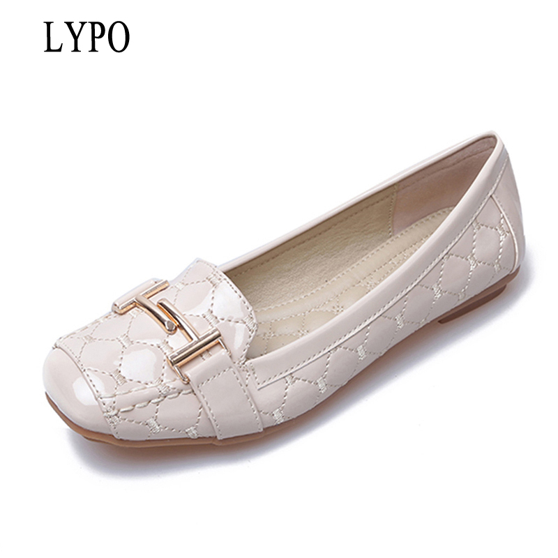 LYPO Women Ballet Flats Shoes 2018 summer new metal buckle sweet square head flat with shoes patent leather ladies shoes odetina 2017 new summer women ankle strap ballet flats buckle hollow out flat shoes pointed toe ladies comfortable casual shoes