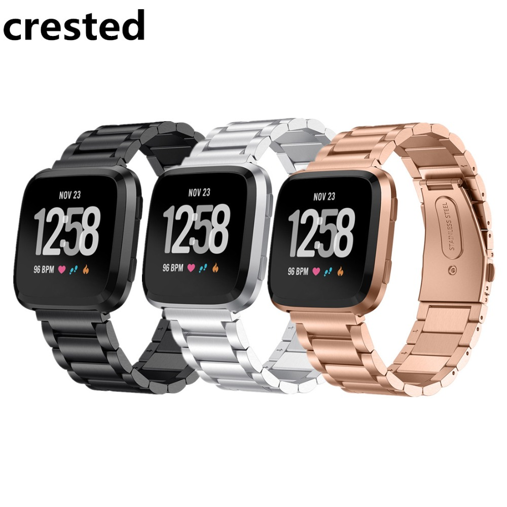 CRESTED Stainless Steel watch bands For Fitbit Versa band Strap Wristband Bracelet Watchband belt For Fitbit Versa straps correa