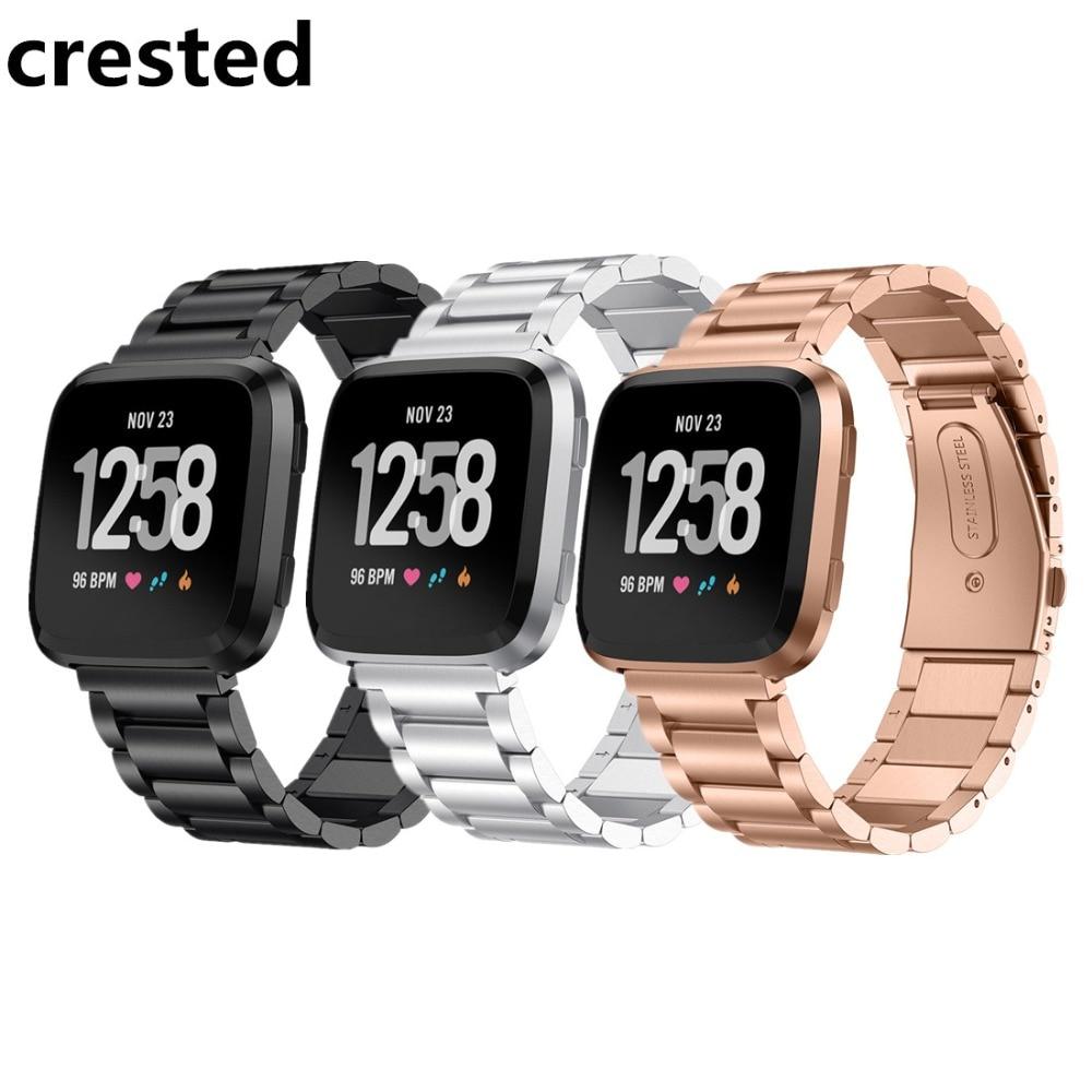 CRESTED cinturini per orologi In Acciaio Inox Per Fitbit Versa band Strap Wristband Del Braccialetto Cinturino cintura Per Fitbit Versa cinghie correa