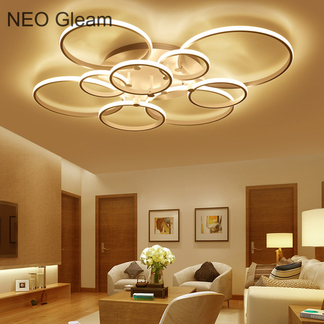 Online shop neo gleam new modern led ceiling lights for living neo gleam new modern led ceiling lights for living room bedroom white color home circel rings led ceiling lamp lampara techo aloadofball Image collections