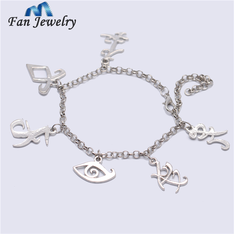 Wholesale The Mortal Instruments City Of Bones Runes Charms Silver Filled Bracelets Movies Jewelry SL903