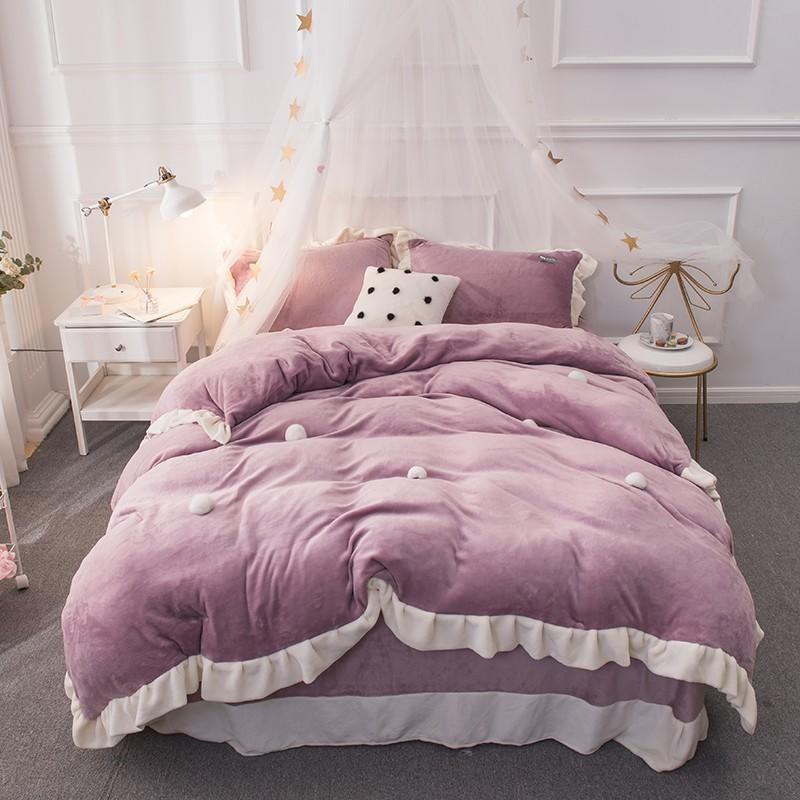 Thick Fleece Warm Bedding Set Queen King size Pink Purple Brown color Princess Bed set Duvet cover Bed sheet set PillowcaseThick Fleece Warm Bedding Set Queen King size Pink Purple Brown color Princess Bed set Duvet cover Bed sheet set Pillowcase