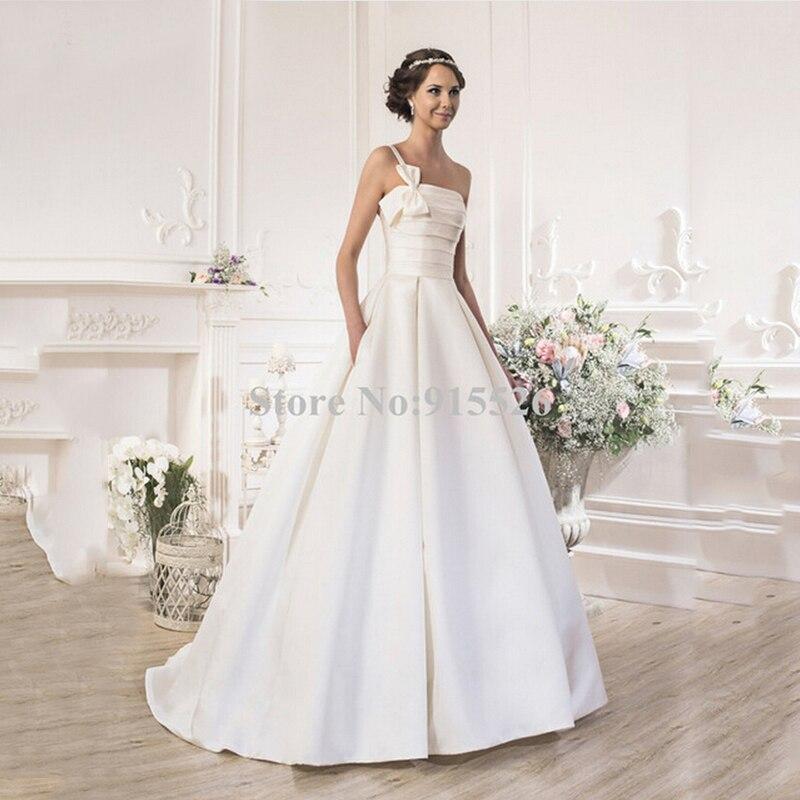 BU 2015 Satin Wedding Dress White Pleat Strapless Beading