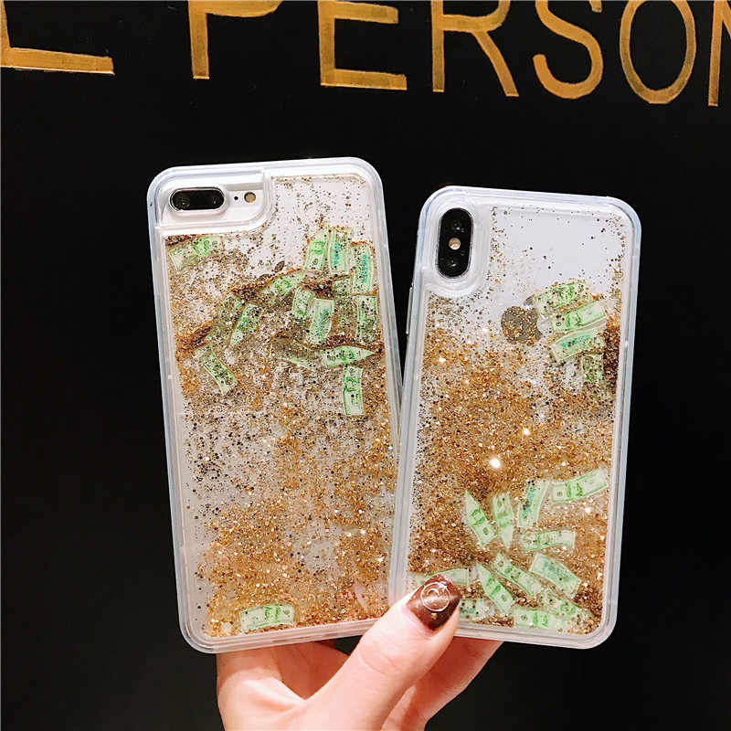 579b16cea7 Girls Glitter Liquid Quicksand US dollar money phone case for iphone 6 6S 7  8 Plus X 10 Dynamic liquid glitter Transparent Cover