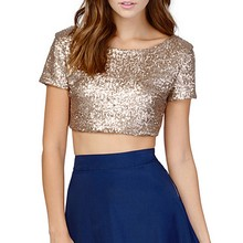 Sexy Women Short Sleeve T-shirt Solid O-Neck Sequined T-shirts  Tops New
