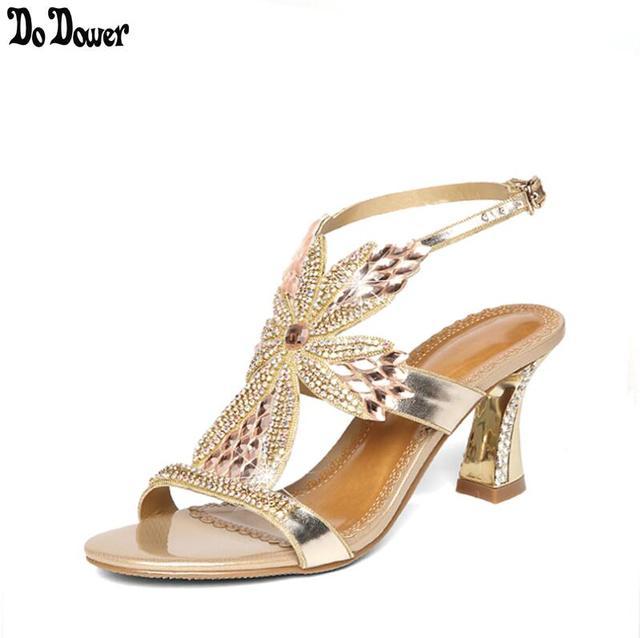 13930e6593d New Rhinestone Sandals Crystal High Heel Shoes Wedding Shoes Black Silver Gold  Strappy Heels Sandales Femme 8cm NXX3