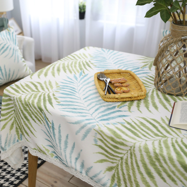 American Country Style Fresh Green Leaves Printed Tablecloth Cotton Linen  Coffee Table Cover Nappe Rectangulaire Tafelkleed