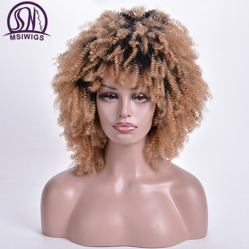 MSIWIGS Short Curly Wigs Ombre Blonde Afro Synthetic Wig For Women African American Dark Root Natural Hair Heat Resistant