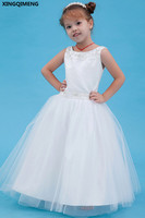 Sequined Beaded Flower Girl Dresses Satin First Holy Communion Dresses Flowers Little Ladies Gown Pageant Dresses for Girl