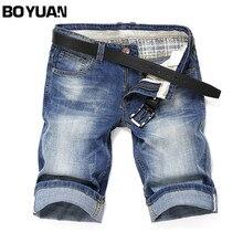 Boyuan прямые джинсы мужские Брендовые джинсовые шорты мужские хлопок, лайкра стрейч по колено Slim Fit Мода 2017 летние тонкие джинсовые X312