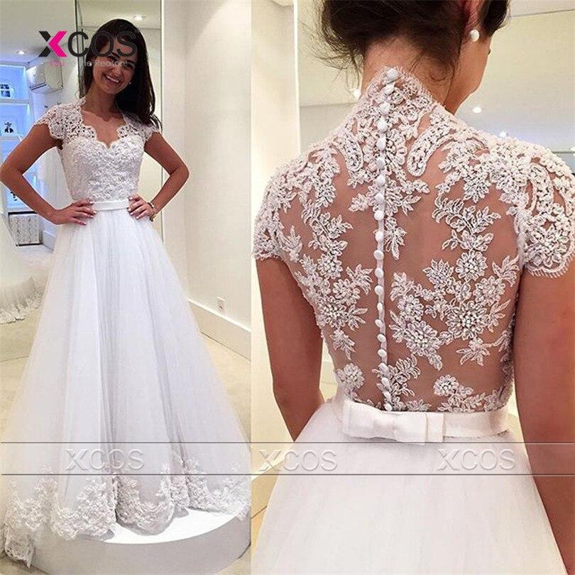 2017 Nuevo Elegante Vestido De Noiva Larga Una Línea de Vestidos de Novia Barato