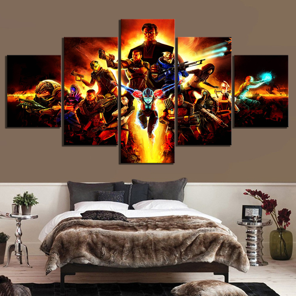 Modular Canvas Artwork Pictures Poster Modern Wall Prints 5 Panel Mass Effect Video Games Painting Home Decor For Living Room image