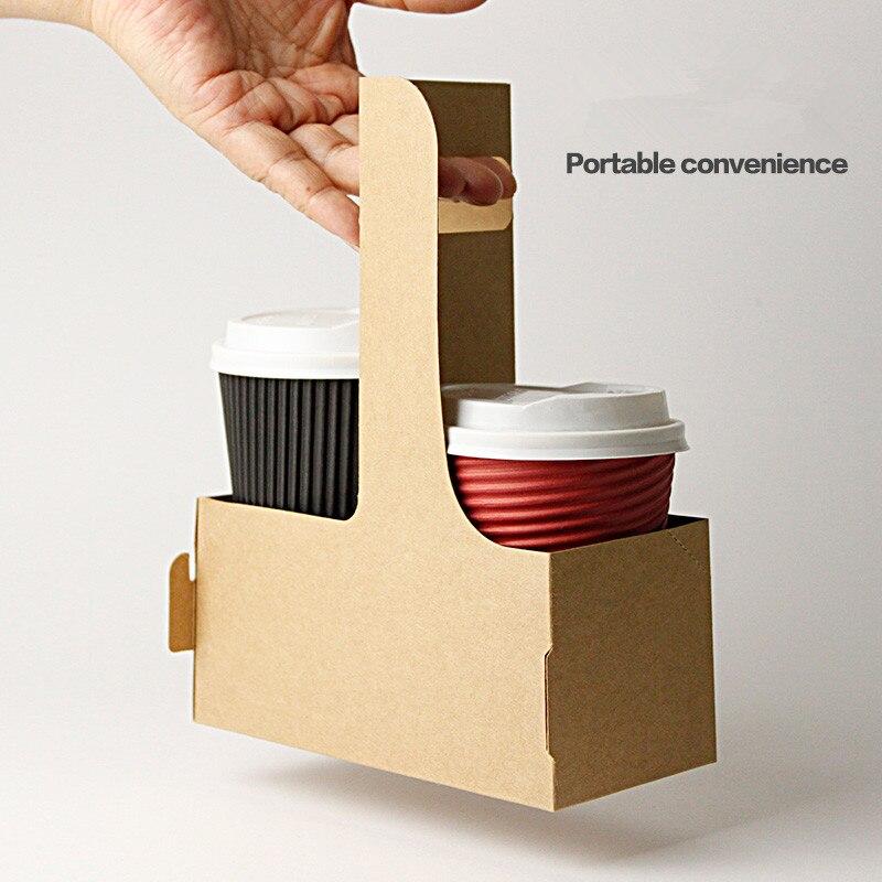 Kraft Paper Coffee Cup Holder Take a cup Beverages Coffee Milk Tea take-away packaging 50pcs