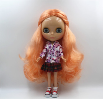 Blygirl Light orange curly nude doll ordinary body 7 joint Tan skin DIY doll can replace the body