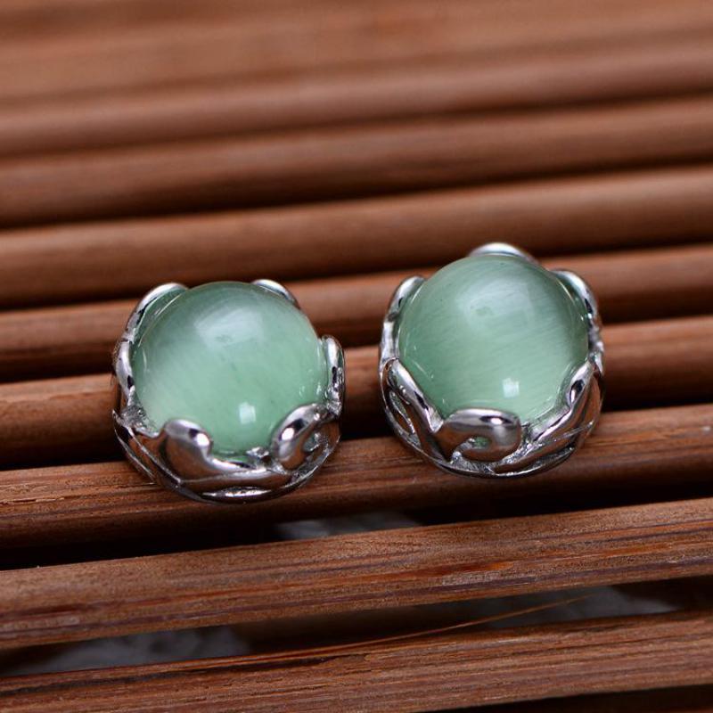 Real Silver 925 Earrings For Women Green Cat's Eye Opal Stone Simple Round Stud Earrings High Quality Jewelry