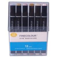 Finecolour ef102 marcadores de escova de ponta dupla 12/24/36 mangá cores pele tons esboço design gráfico com caixa de caneta