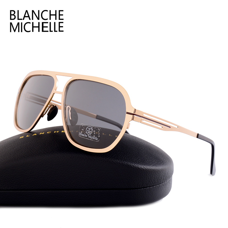 Image 2 - Blanche Michelle 2019 High Quality Stainless Steel Polarized sunglasses Men UV400 Square Sun Glasses lunette soleil homme-in Men's Sunglasses from Apparel Accessories