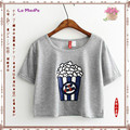 2017 Hot Sale High quality Cotton Women Crop Tops  Popcorn Printed Fashion Style Female Short-sleeve Young girl T-shirt R368