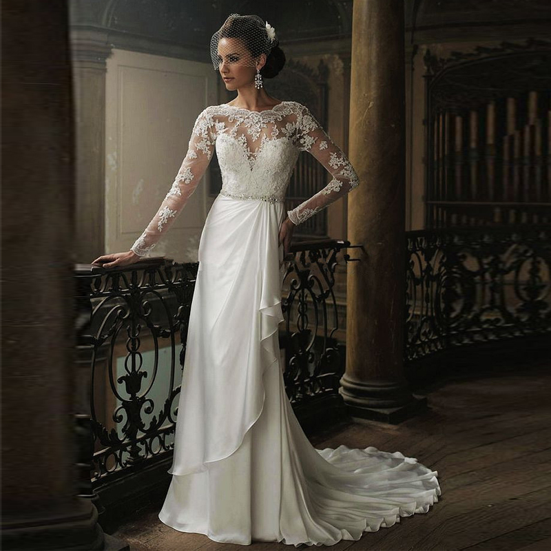 Long Sleeve Wedding Dresses Size 14 : Winter long sleeve beaded lace floor length wedding dress bridal