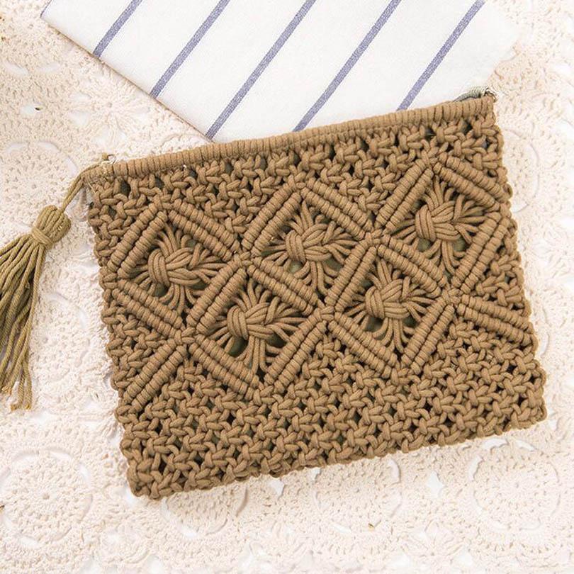 Luxury Bag Designer Handbag Women Straw Day Clutches Envelope Bag ladies Summer Beach Tassel Knitting Woven Bag sac a main Bolsa