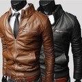 Зима мужчины PU Мотоцикла Кожаные куртки пальто Мужчины кожаное пальто куртка мотоцикла воротник Британский версия бренд одежды
