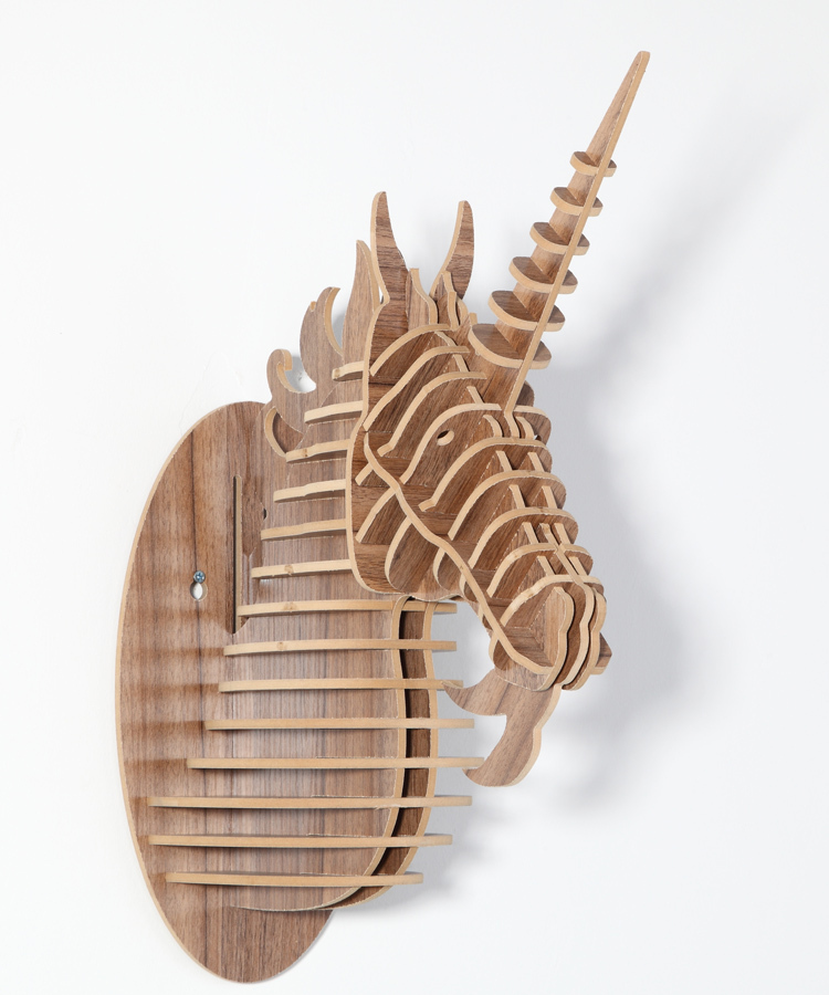 Aliexpress Com Buy Unicorn Head Ornament Animal Wood Carving Decorative Items Unicorn Home Decor Mdf Diy Craft Home Wall Hanging Decorative Objects From