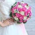 2017 Ramo De La Boda de dama de Honor Ramo de mariage Barato Rosa/Marfil/Rojo/Púrpura Artificial Rose Ramo de Novia de La Boda flor