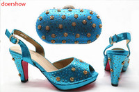 doershow Shoes With Matching Bag Set For Wedding Party Nigeria New Fashion Women Pumps Shoes and Bags HX1 24